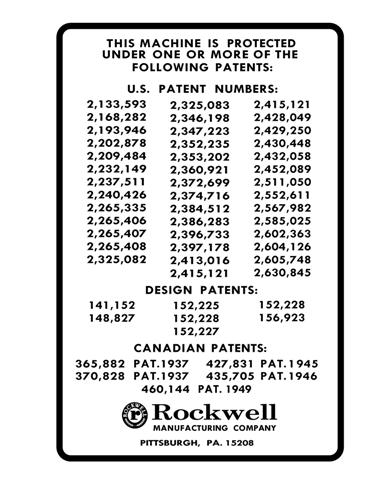 Rockwell/Delta 37-220 Patent Decal(ca 1965)-Submitted by Peter Hudy