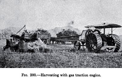 Harvesting with Gas Traction Engine