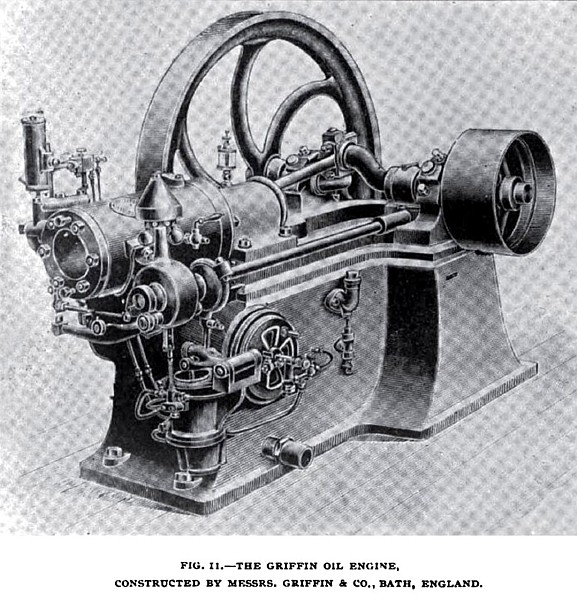 Fig. 11—The Griffin Oil Engine, Front ¾ View