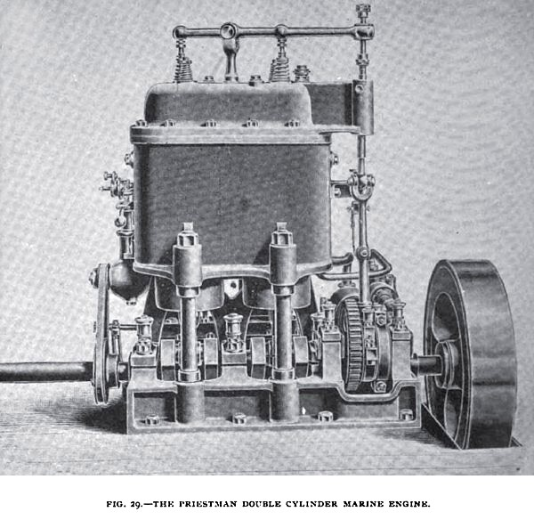 Fig. 29— The English Priestman Double Cylinder Marine Engine
