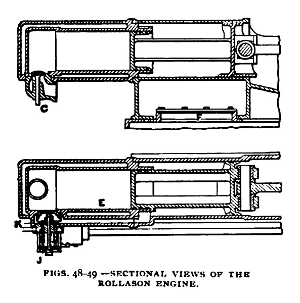 Figs. 48-49— Sectional Views of the Rollason Engine