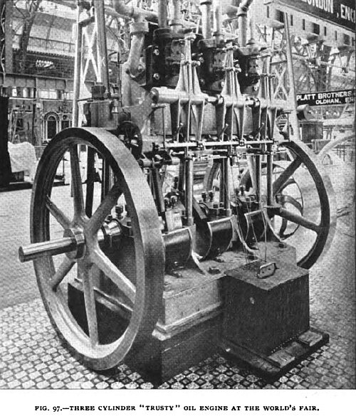 "Fig. 97—Three Cylinder ""Trusty"" Oil Engine"