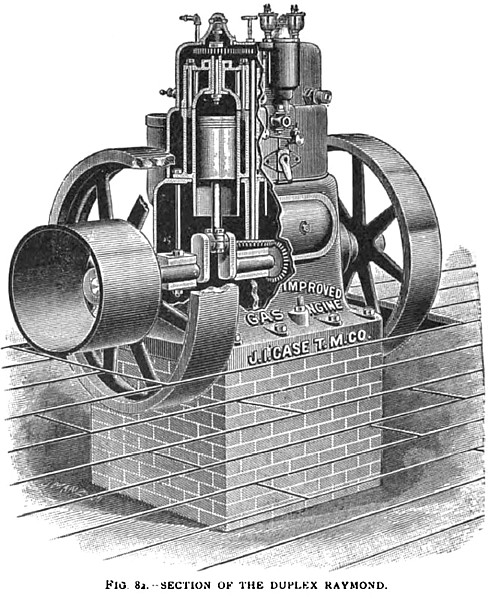 Section of the Raymond Duplex Gas Engine