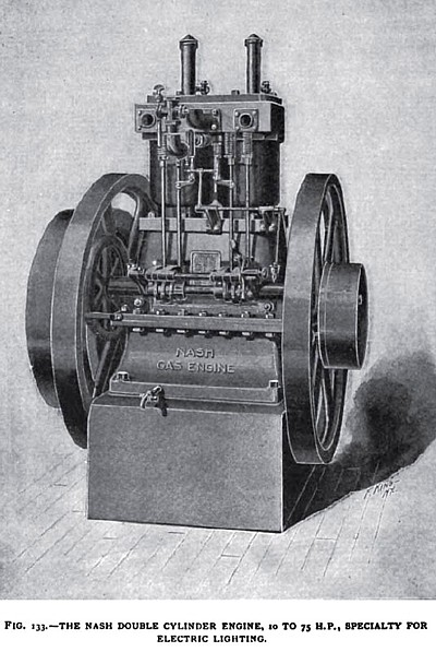 The Nash Vertical Double Cylinder Gas Engine
