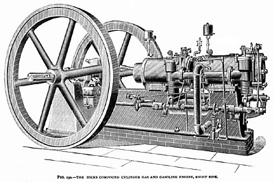 The Hicks Compound Cylinder Gas Engine (Right Side)