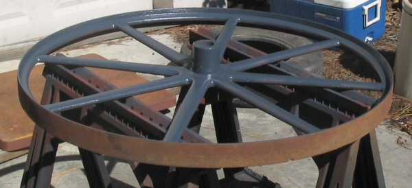 One of the wheels after painting