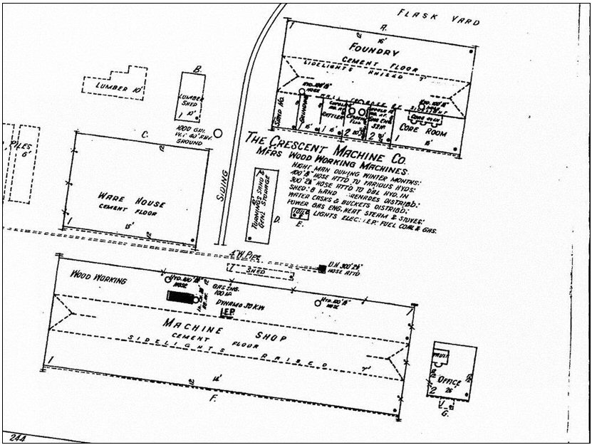 Figure 12. Sanborn Fire Insurance Map dated 1910 showing the layout of the new Crescent factory.