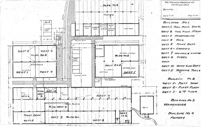 Figure 15. Blueprint of the Crescent Factory from which the 1911 expansion was made. The new addation is titled