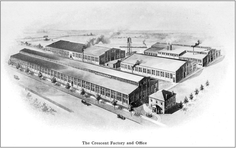 Figure 16. Drawing of the Crescent Factory shown in the 1913 Crescent Catalog showing the new building added in 1911.