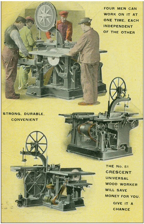 Figure 17. Postcard postmarked December 1912 advertising the new Crescent No. 51 Universal Woodworker. Reverse of the card reads: