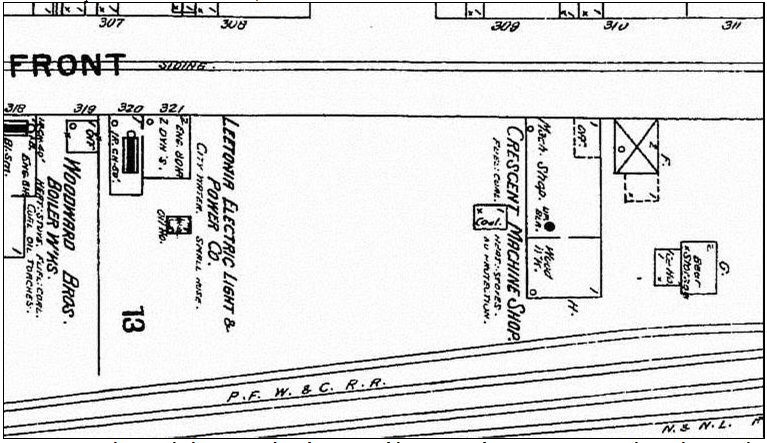 Figure 8. A map showing the location and configuration of the Crescent factory in 1898. Note that at the time, the Crescent factory consisted of only a single building located on Front Street.