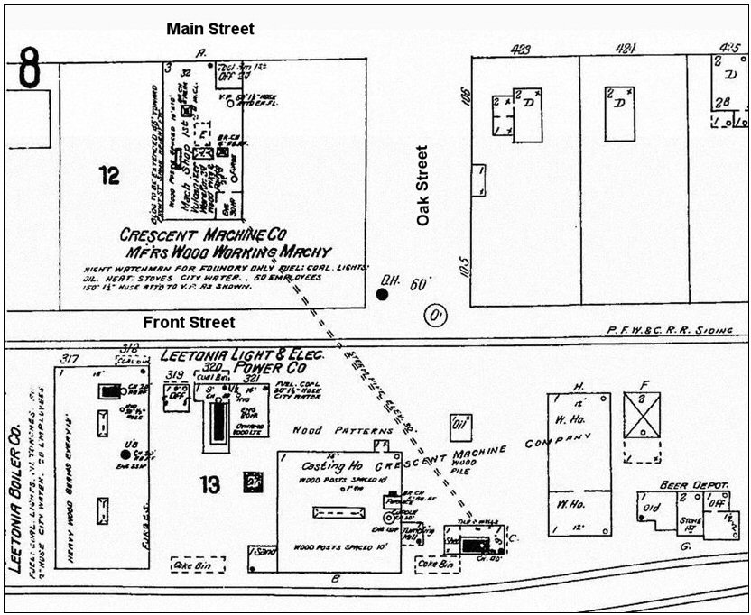 Figure 9. Map showing the layout of the Crescent factory after the 1901 additions. Note that in addition to the original building on Front Street, the Crescent factory had been expanded to include a foundry next door to the original building as well as a machine shop located between Main and Front Streets.