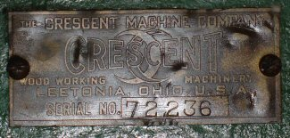 Sometime around 1940 or so (an exact time is not currently known), Crescent once again began to use a serial number tag on their machines rather than just stamping the number directly on the machine. These tags were used between when they started using tags again and when Crescent was bought out by Rockwell in 1945. During this period of time, Crescent used several style badges with known examples show below: