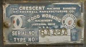 This style tag was used for a short period of time after Rockwell took over Crescent in 1945 until they began using the serial numbers prefixed with the letters