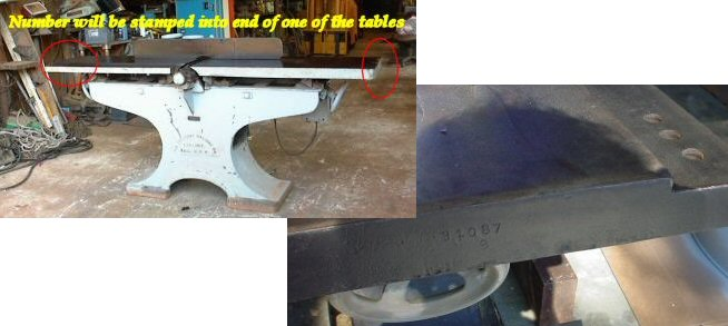 On jointers, the serial number is typically stamped onto the end of either the in-feed or out-feed table.