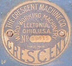 This style tag is found on early Crescent machines. Exact dates are not known at this time but appears to have been used from around 1906 through around 1912. When this tag was not used, serial numbers were simply stamped on the machine.