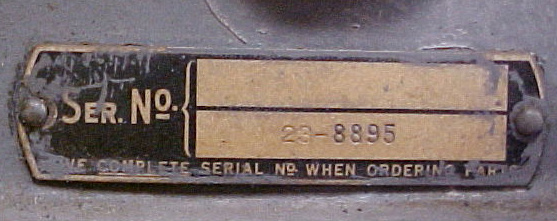 Delta Oilboard Serial Number Plate