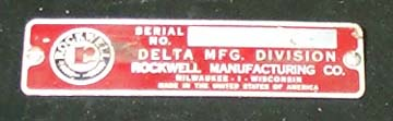 Newer Delta Serial Number Plate