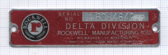 1947 Delta Unisaw Serial Number Plate