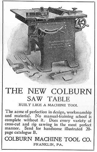 Advertisement for the Colburn Saw Table