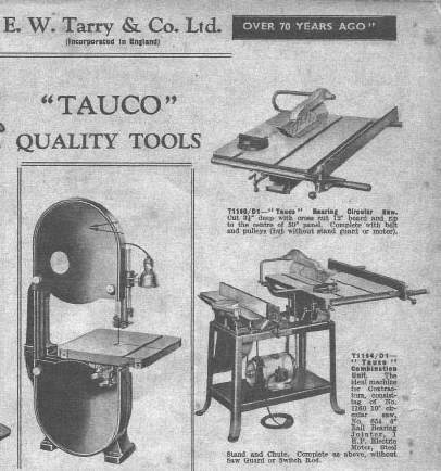 A portion of the page of the 1964 Tarry's Catalogue showing my father's combination saw/jointer listed as a Tauco. It was this brand reference which spurred on my curiosity.