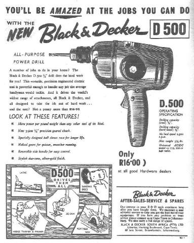 Black and Decker equipment advertised in 1961.