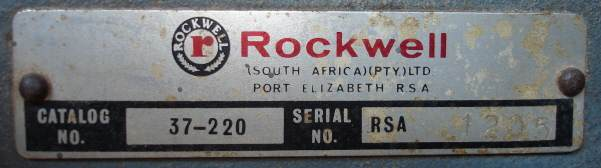 Labels used on machines during the Rockwell South Africa period. This on a 6 inch jointer Model 37-220 Serial RSA 1205.