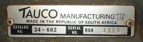 Tauco Manufacturing label used by John Cubitt